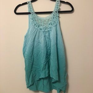 Tops - Ombré teal lace tank top